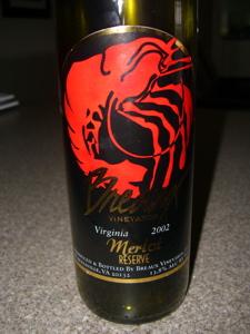 Breaux Vineyards 2002 Reserve Merlot